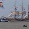 23 oktober 2014 Harlingen - Harlingen Sail 2014. Op de achtergrond een Damen Fast Crew Supplier 2610. Op de voorgrond de  (bark) Europa (1911) met thuishaven Scheveningen. ( � Anne de Boer.)