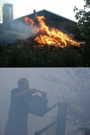 Brand bij boerderij aan Trekweg