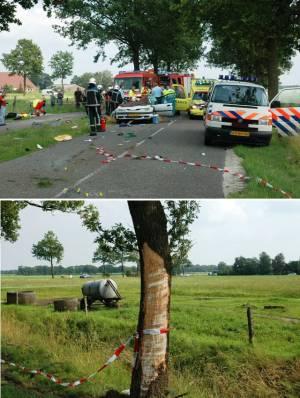 Auto tegen boom bij Oosterwolde