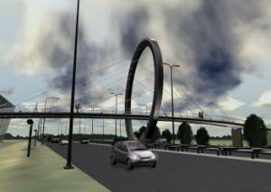 Markante fietsbrug over A7 Drachten