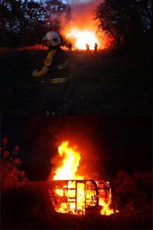 Caravan in vlammen op in Burgum