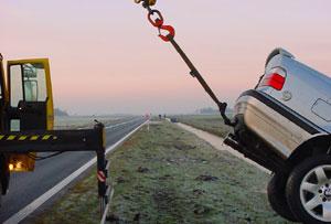 Auto's in de slip op Lauwersseewei