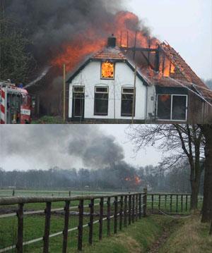 Woonboerderij bij Boijl uitgebrand