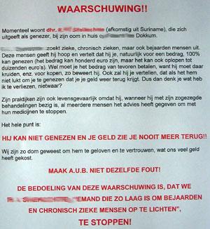 Brief waarschuwt bewoners Fûgellân