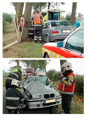 BMW botst tegen boom bij Ee