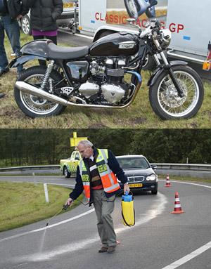 Motorrijder ten val door oliespoor