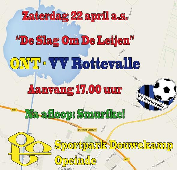 Zaterdag as. ONT-VV Rottevalle; 'aangeklede' derby