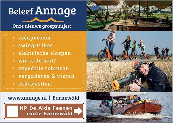 Duurzame bedrijfsuitjes bij Annage in Earnewâld