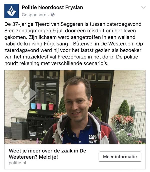 Politie adverteert op Facebook als hulpmiddel