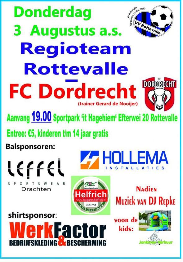Donderdag 3/8 Regioteam Rottevale - FC Dordrecht