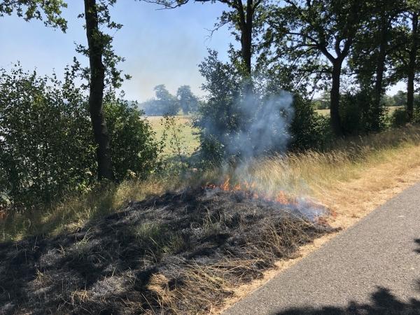 Brandweer blust bermbrand langs Centrale As