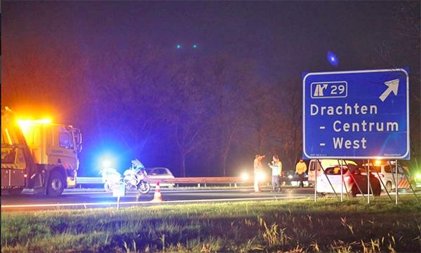 Drie auto's in botsing op A7 bij Drachten