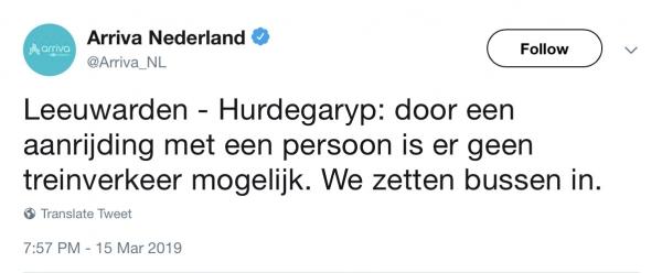 Geen treinverkeer tussen Leeuwarden en Hurdegaryp