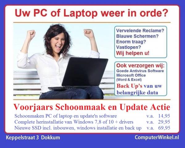 Voorjaars Schoonmaak Actie voor uw Laptop of PC