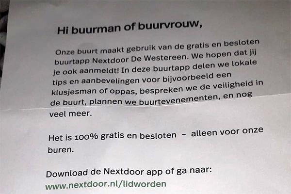 Brieven van buurtapp Nextdoor ook in de regio