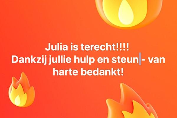 Vermiste Julia is weer thuis