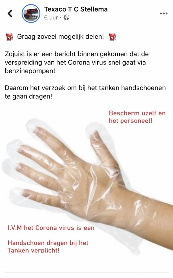 Tankstation deelt nepnieuws over handschoenen