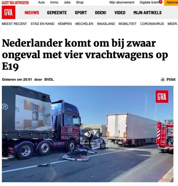 Drachtster vrachtwagenchauffeur komt om het leven